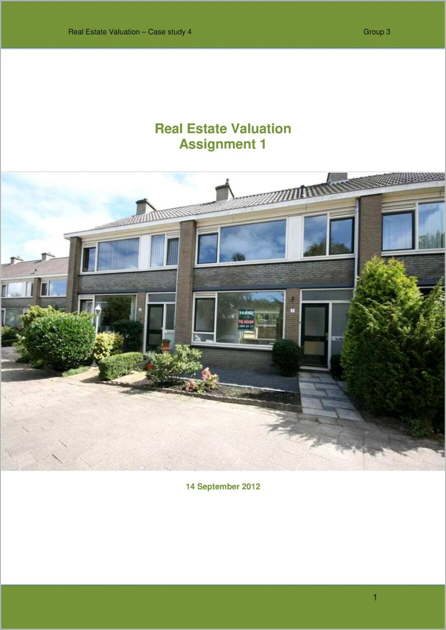 House Valuation Report Example