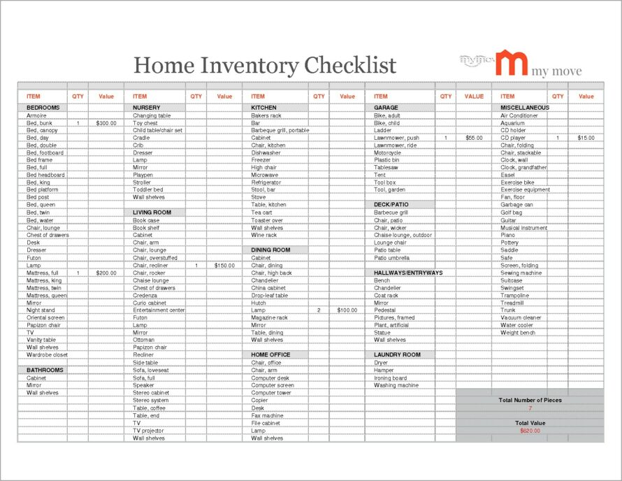 Household Inventory List Form