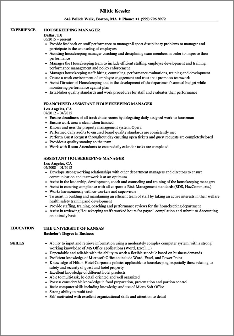 Housekeeping Manager Resume Templates