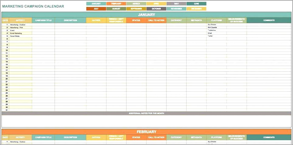 Hubspot Email Marketing Planning Template