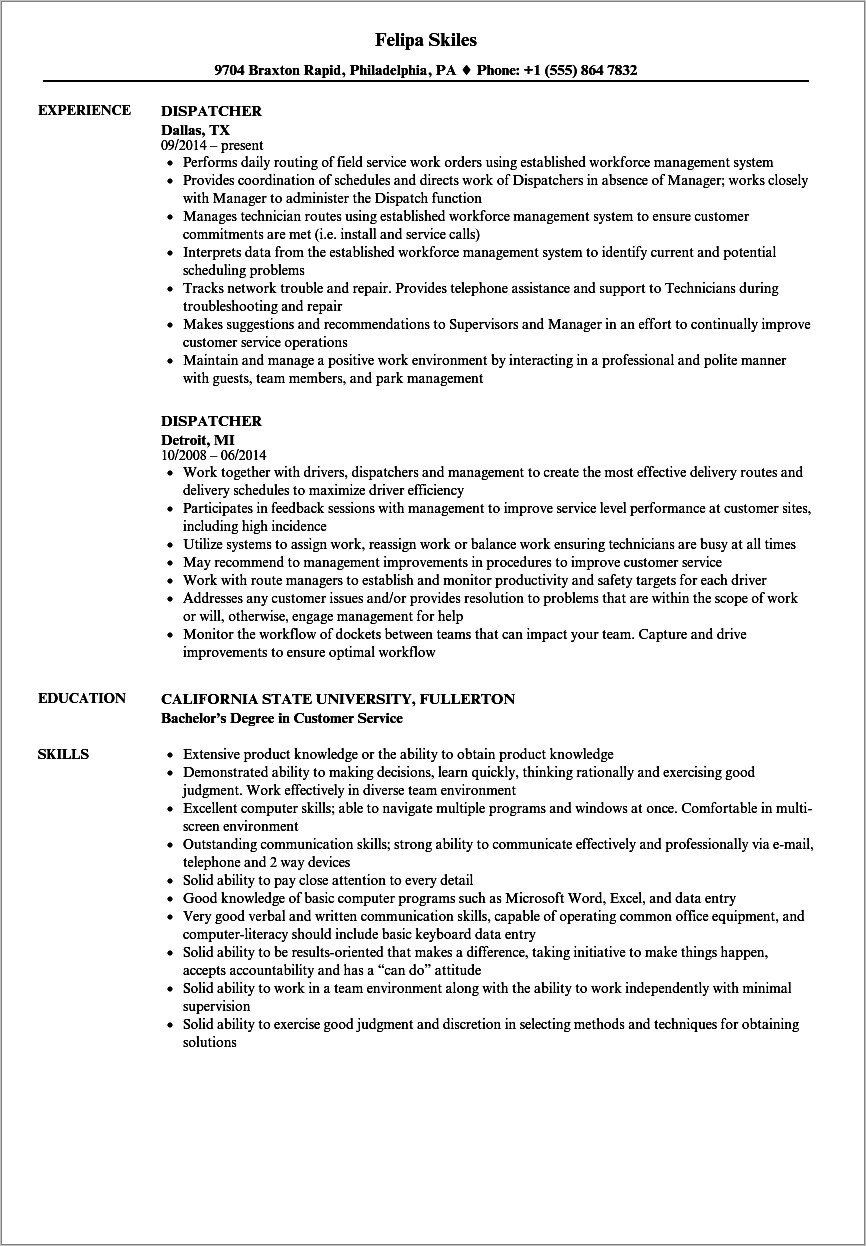 Hvac Dispatcher Job Description Sample