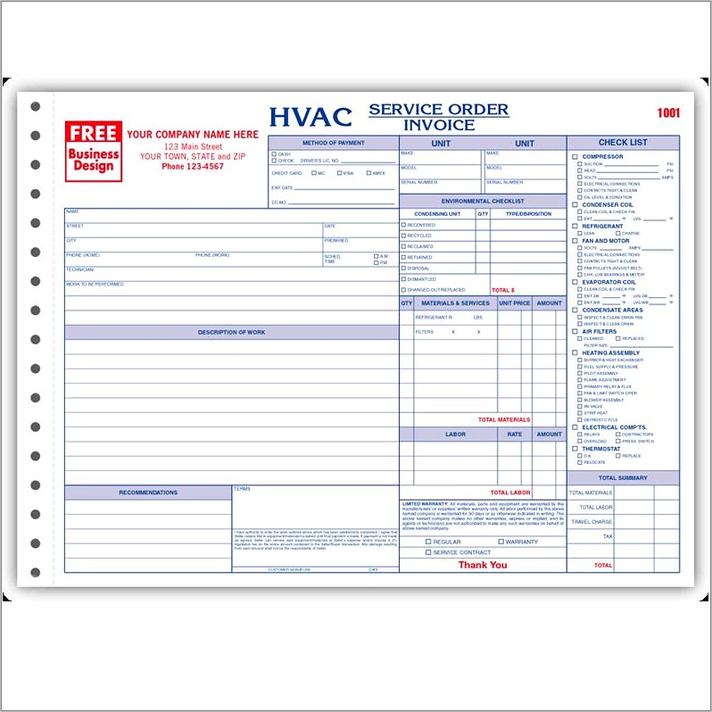 Hvac Job Work Order Forms