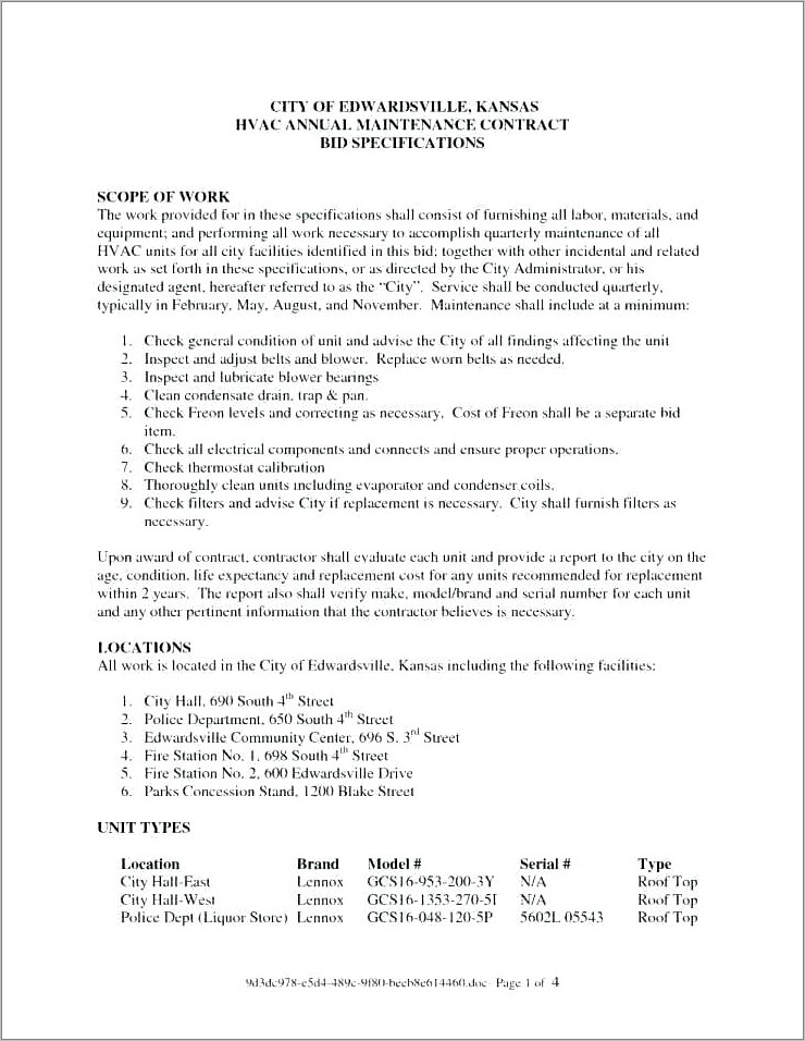 Hvac Service Contract Samples Download