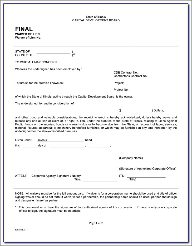 Illinois Final Waiver Of Lien Form