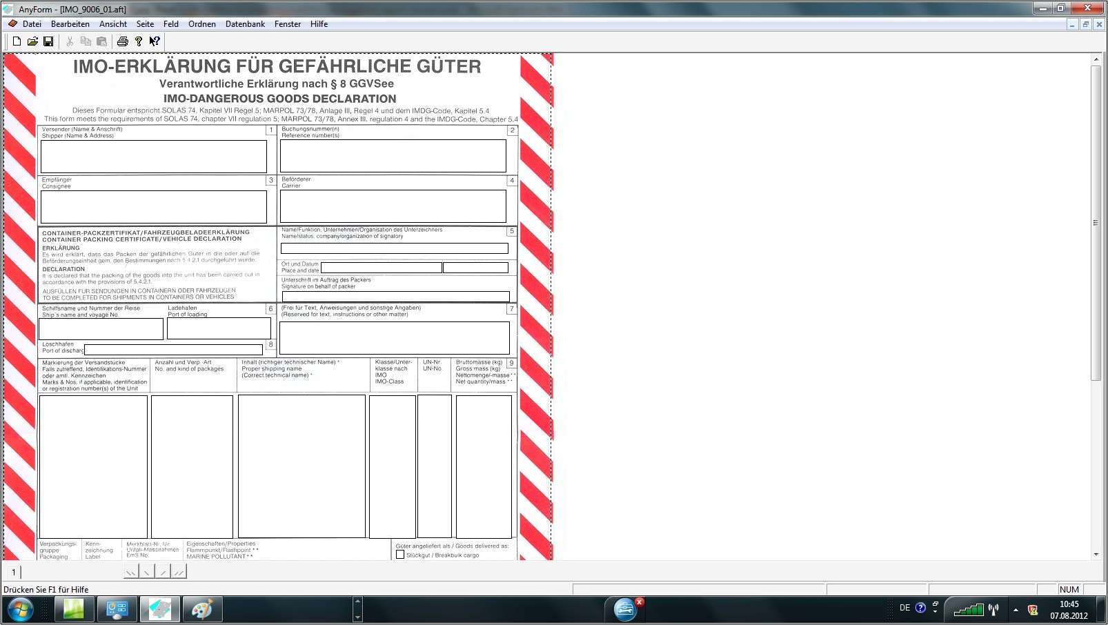 Imo Dangerous Goods Form Download