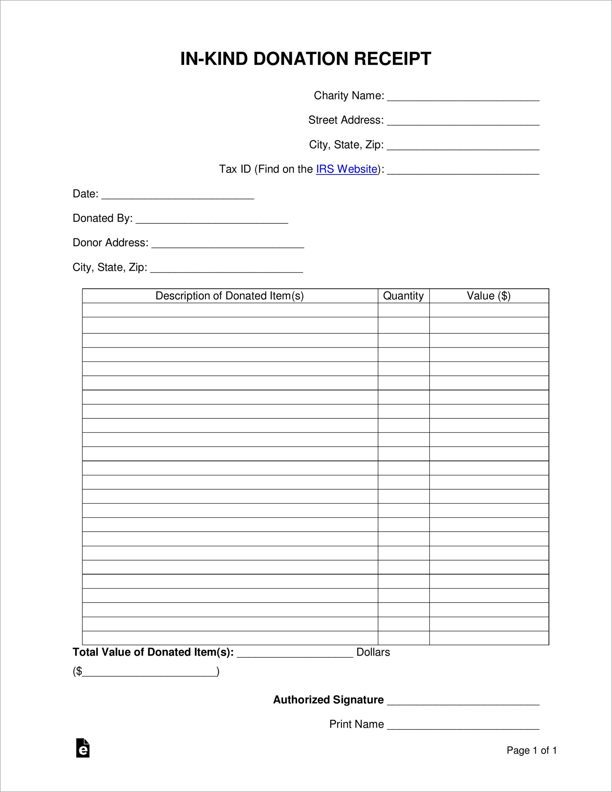 In Kind Donation Receipt Letter Template