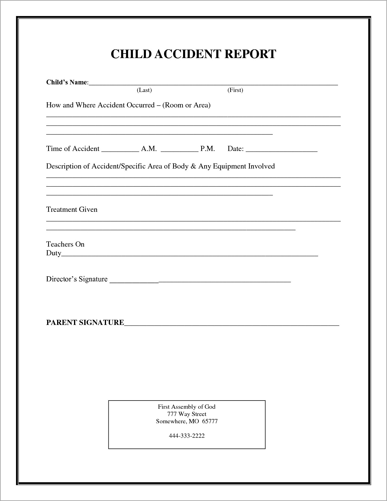 Incident Report Form Word Doc