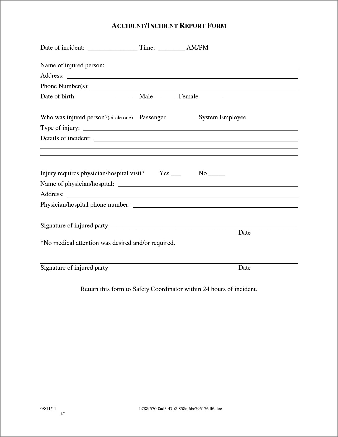 Incident Report Template Word Doc