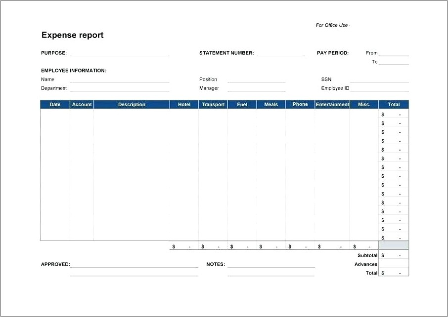 Income And Expense Report Template
