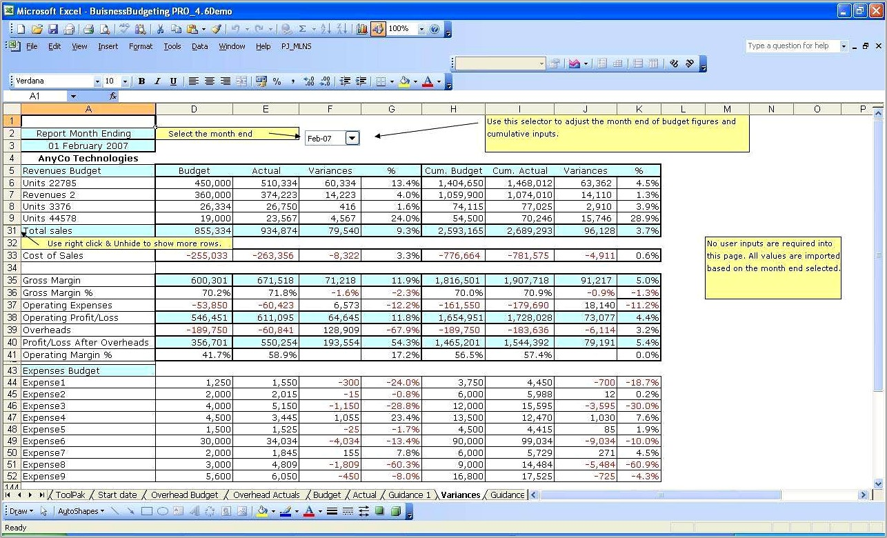 Income Expense Report Template