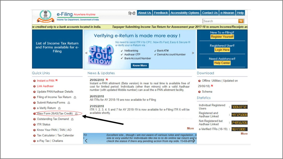 Income Tax Filing Form 26as