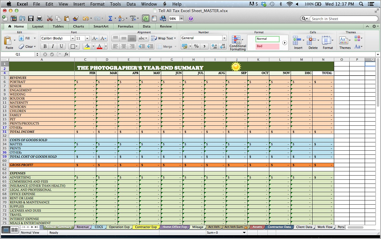 Income Tax Spreadsheet Templates