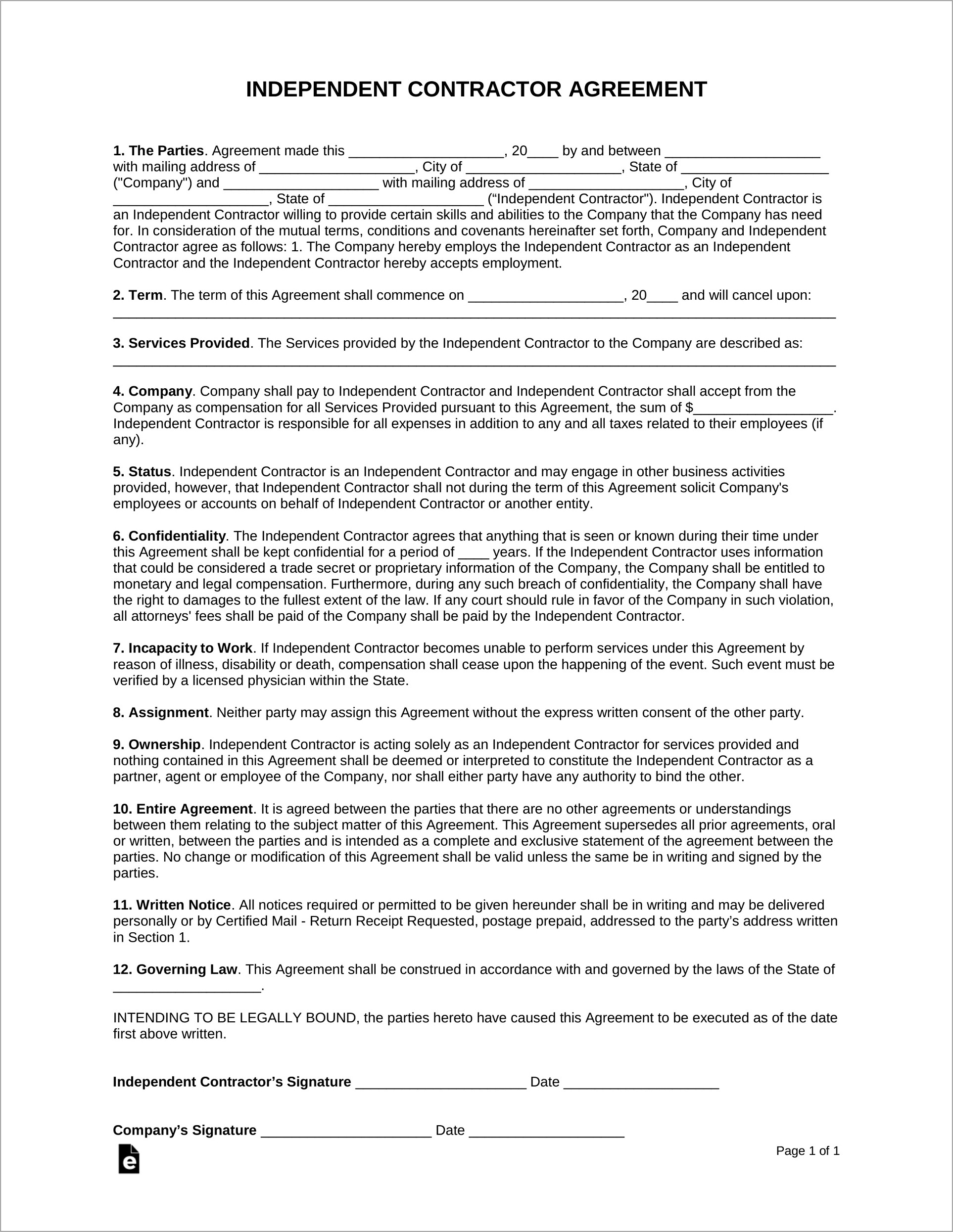 Independent Contractor Agreement Sample Canada