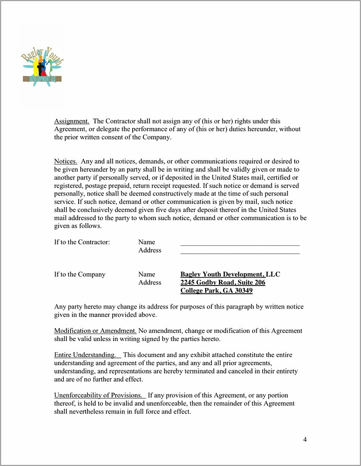 Independent Contractor Agreement Sample Pdf