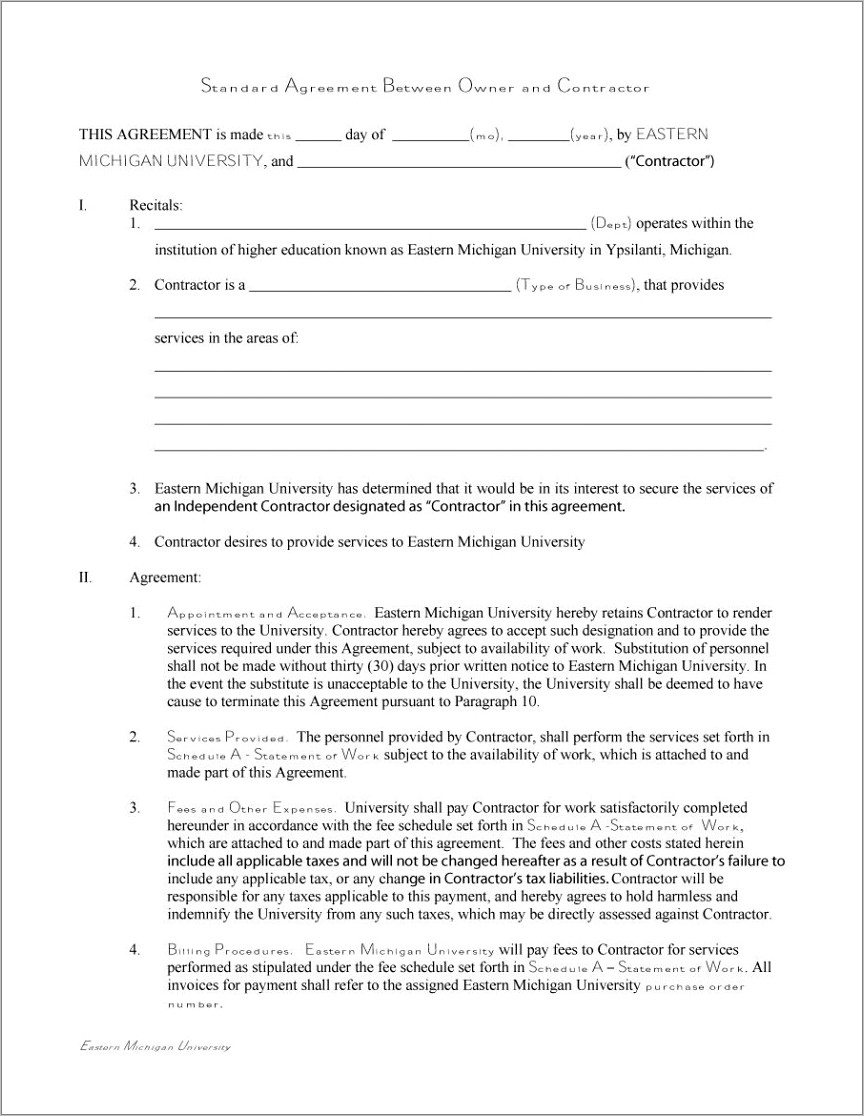 Independent Contractor Agreement Template Canada