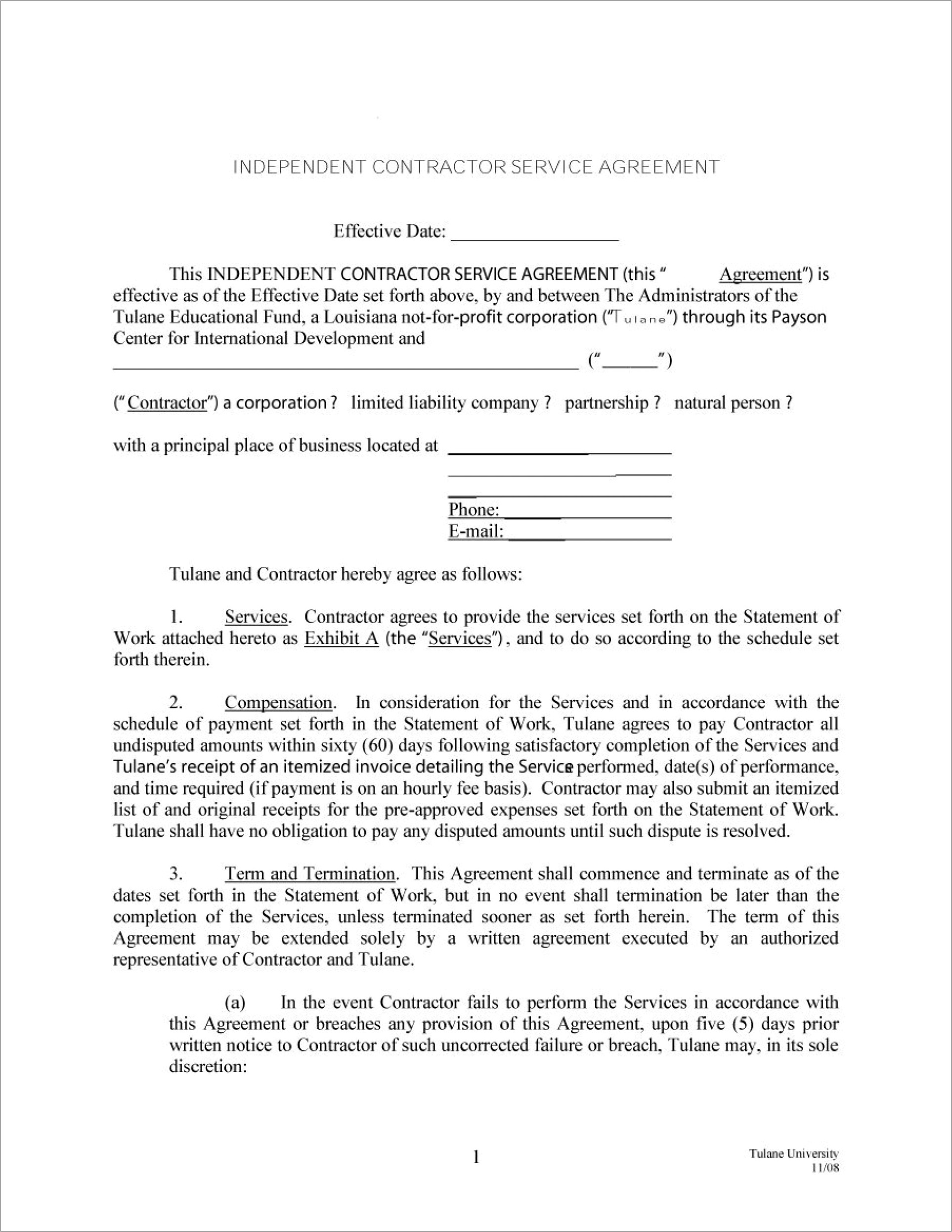 Independent Contractor Agreement Template Free Australia