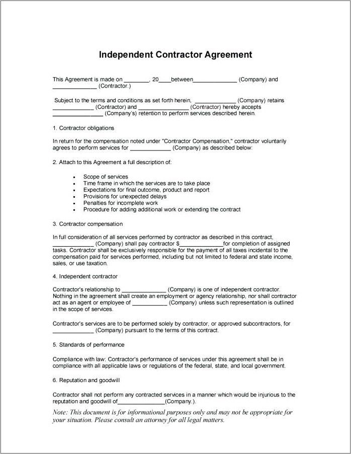 Independent Contractor Template Canada