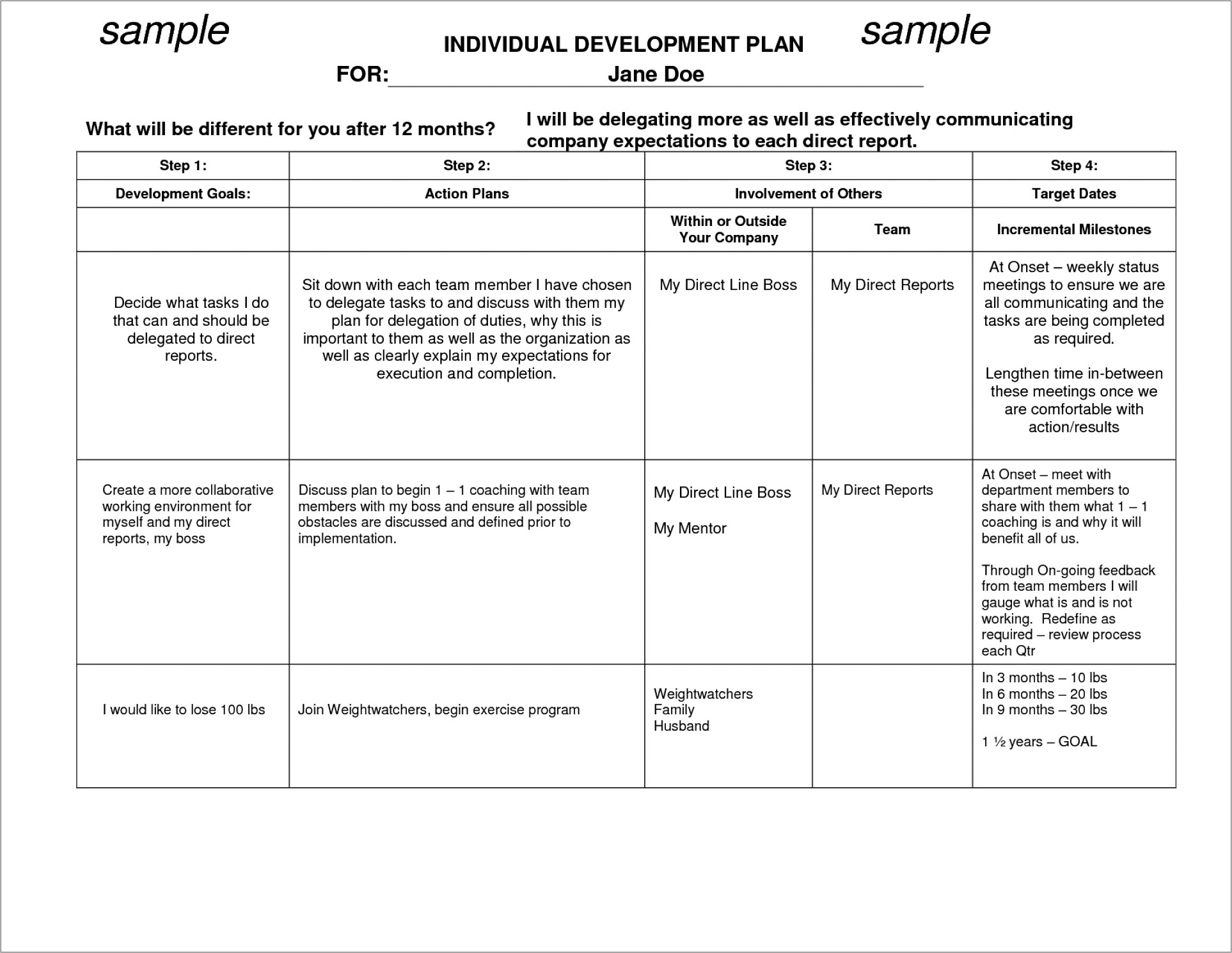 Individual Development Plan Examples Ppt