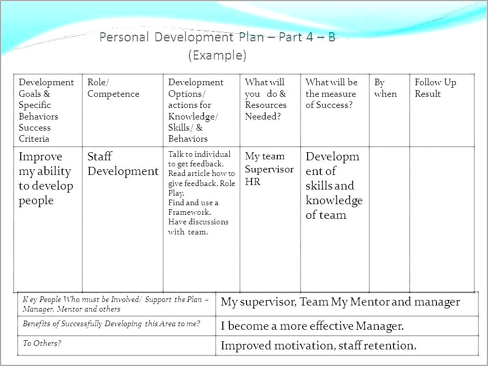 Individual Development Plan Template For Managers