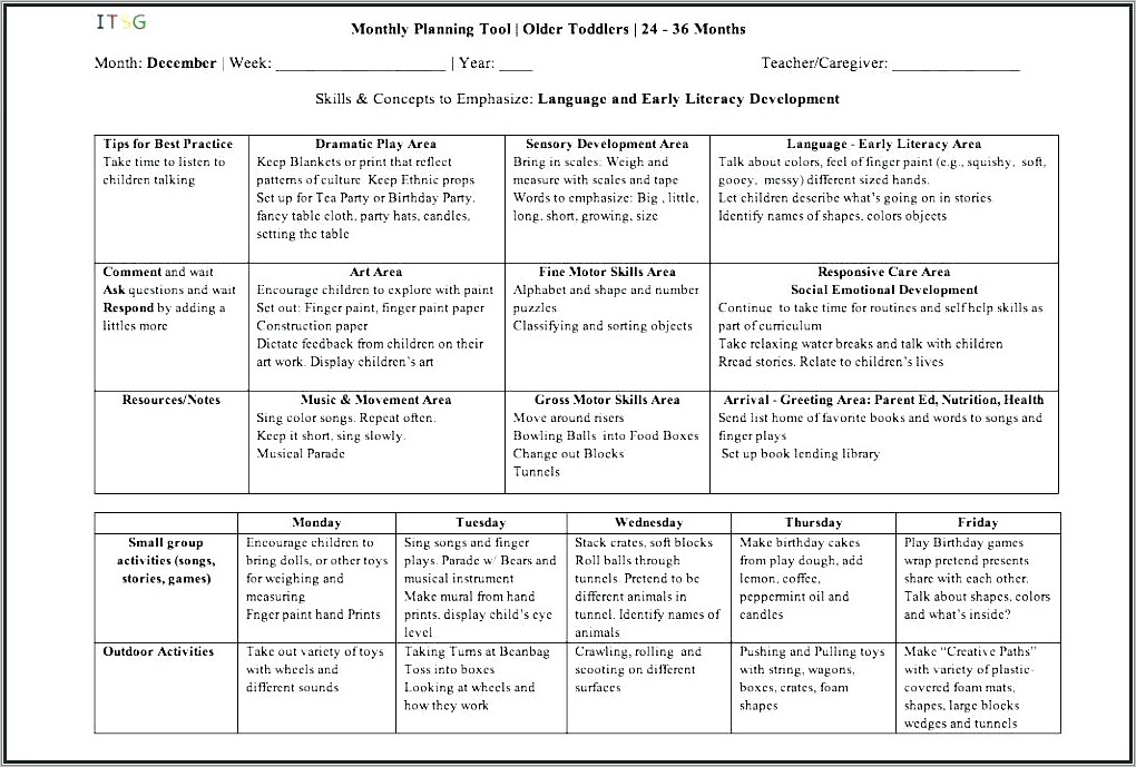 Infant Lesson Plan Examples
