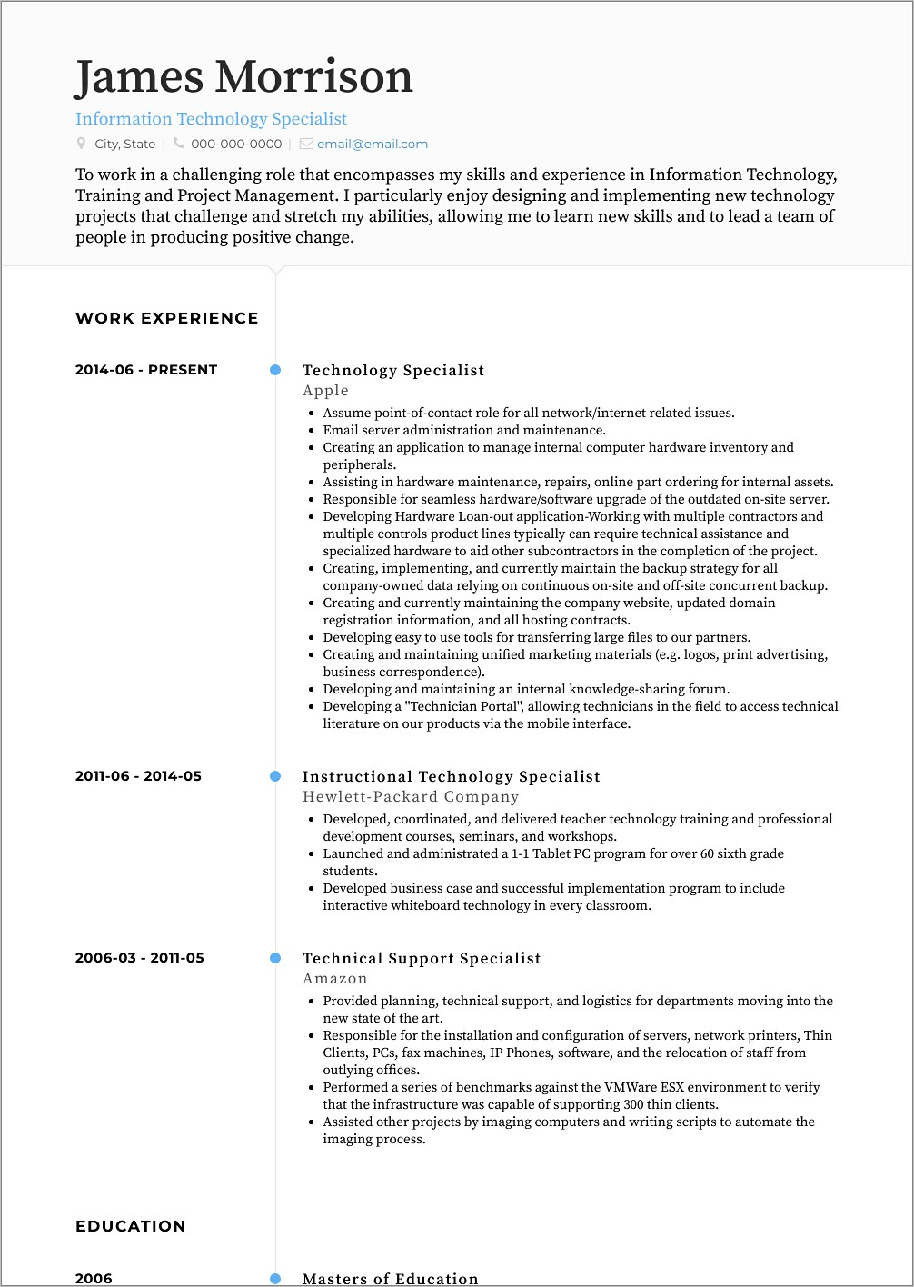 Information Technology Resume Templates