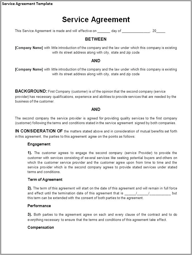 Insurance Broker Service Agreement Template