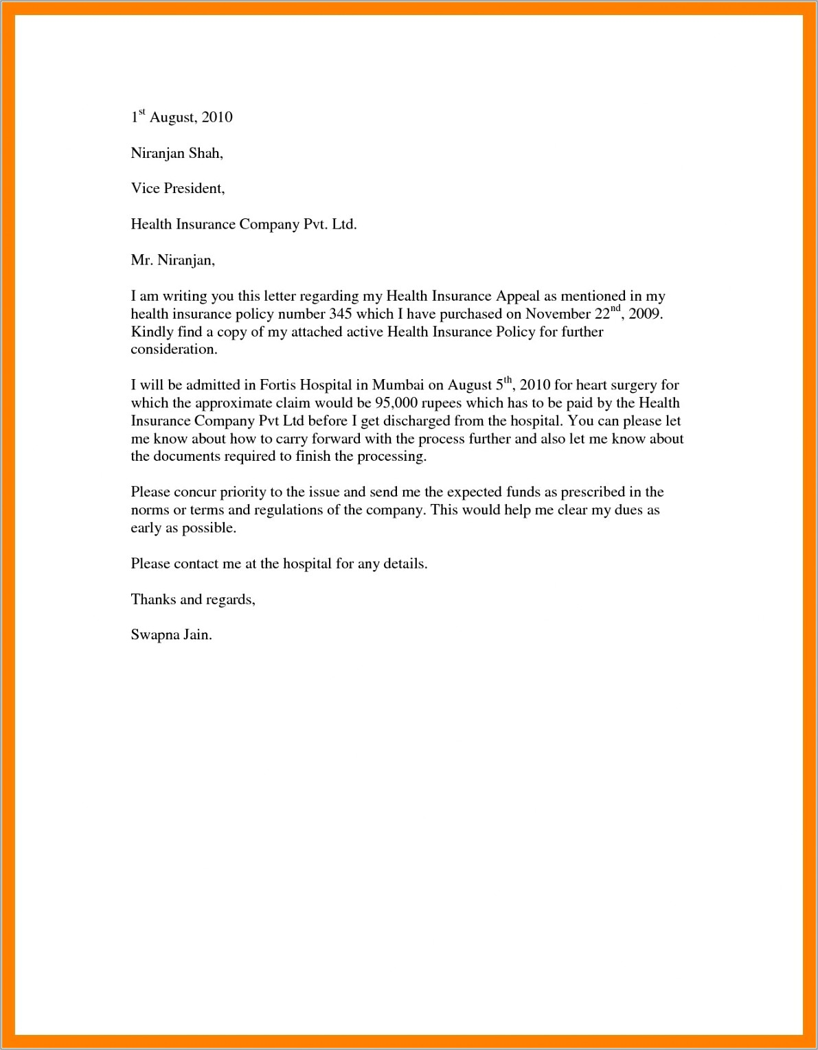 Insurance Rejection Letter Template