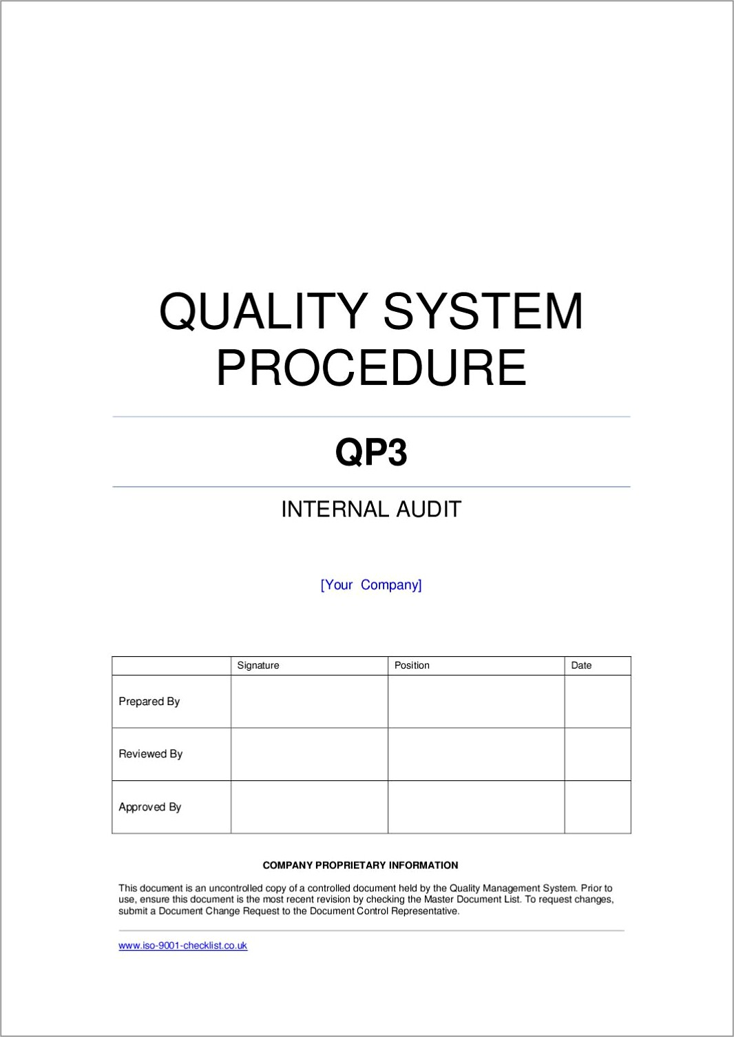 Internal Audit Example Iso 9001