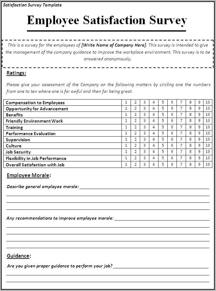 Internal Customer Satisfaction Survey Questions Examples Free
