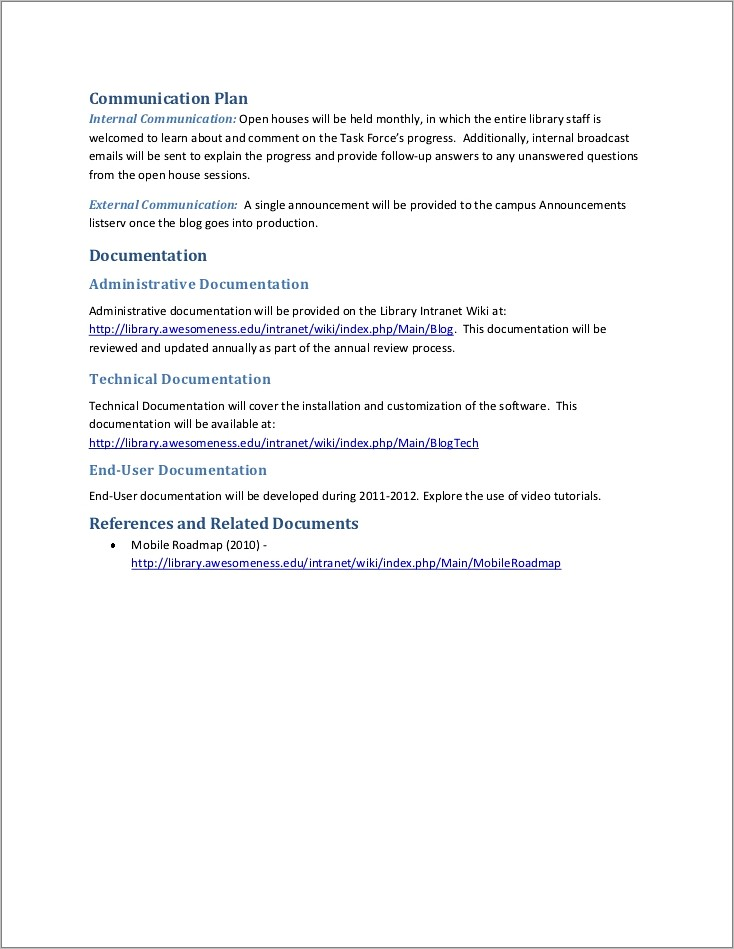 Intranet Requirements Document Template