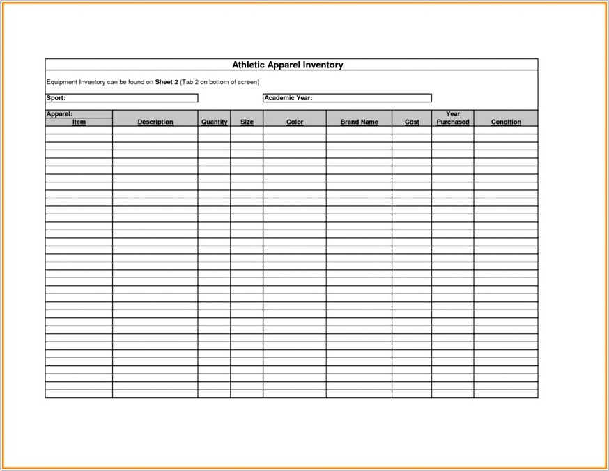 Inventory Checklist Template Word Uk