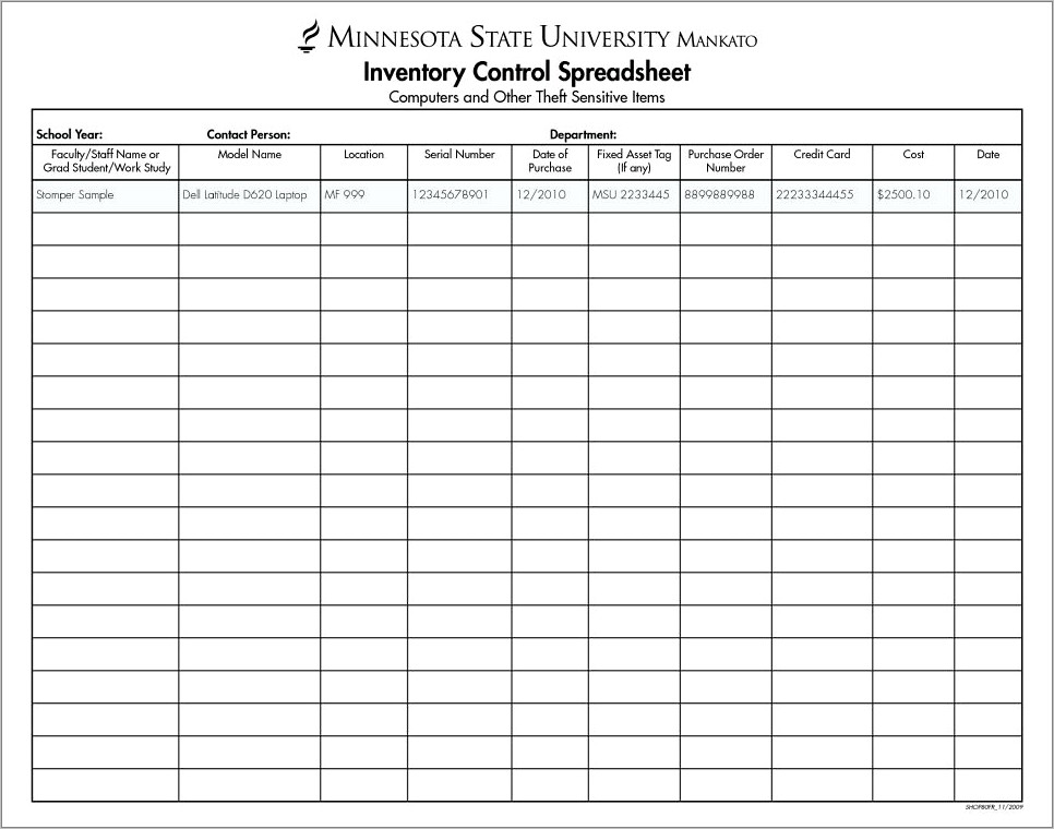 Inventory Control Template With Count Sheet Free