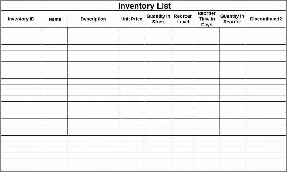 Inventory Spreadsheet Template Mac