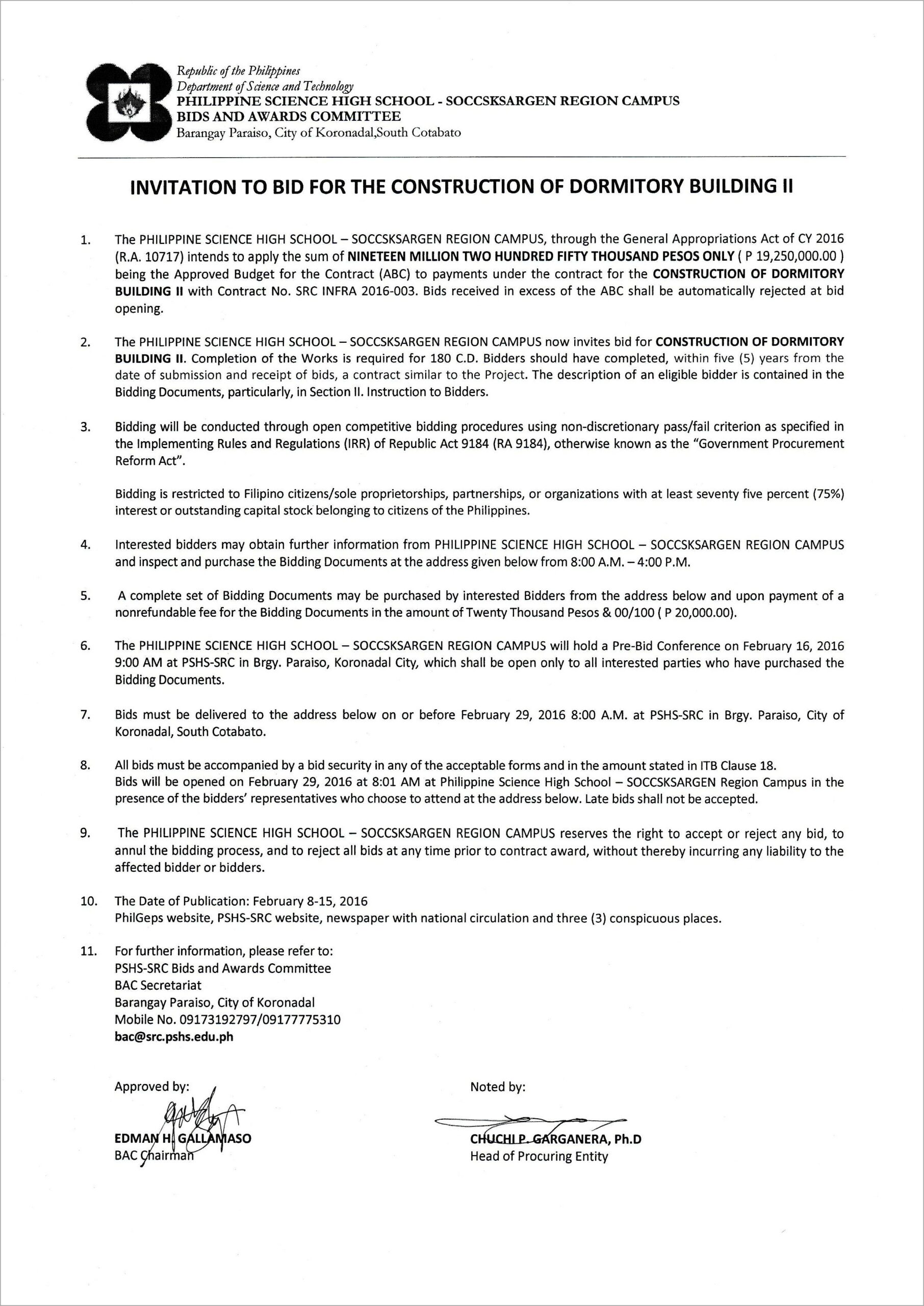 Invitation To Bid Forms For Construction