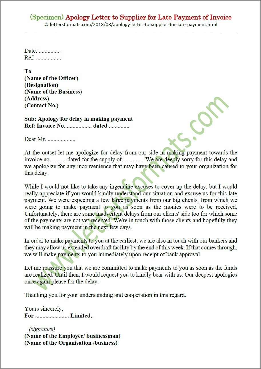 Invoice For Payment Letter
