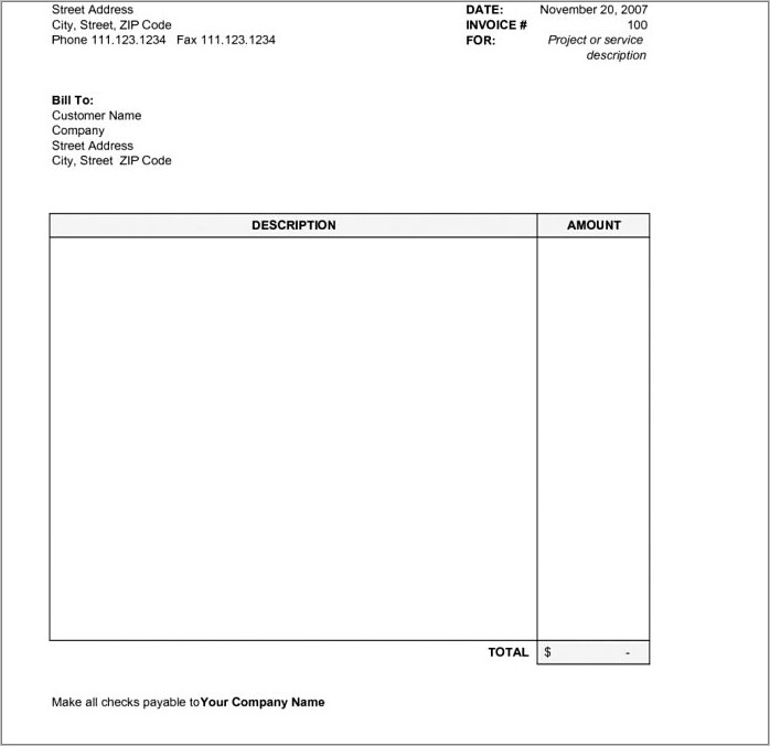 Invoice Form Download Free