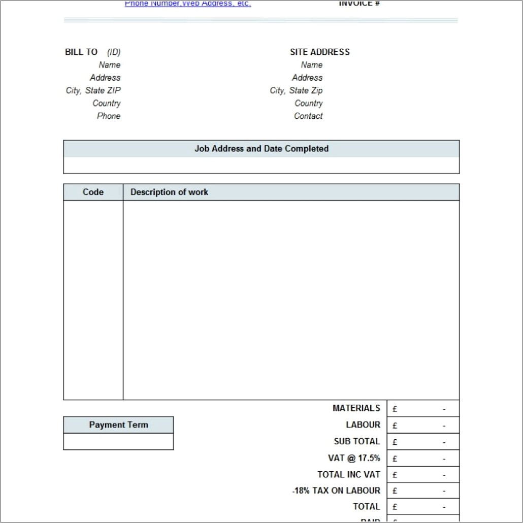 Invoice Format For Builders