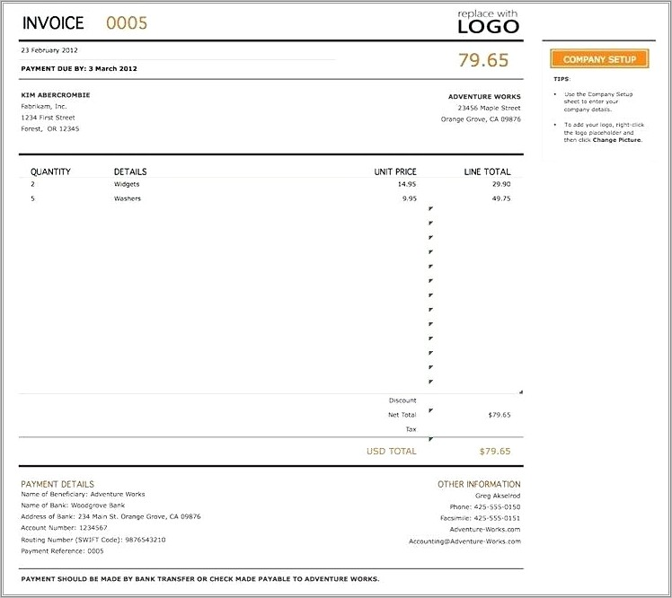 Invoice Template Doc South Africa Free