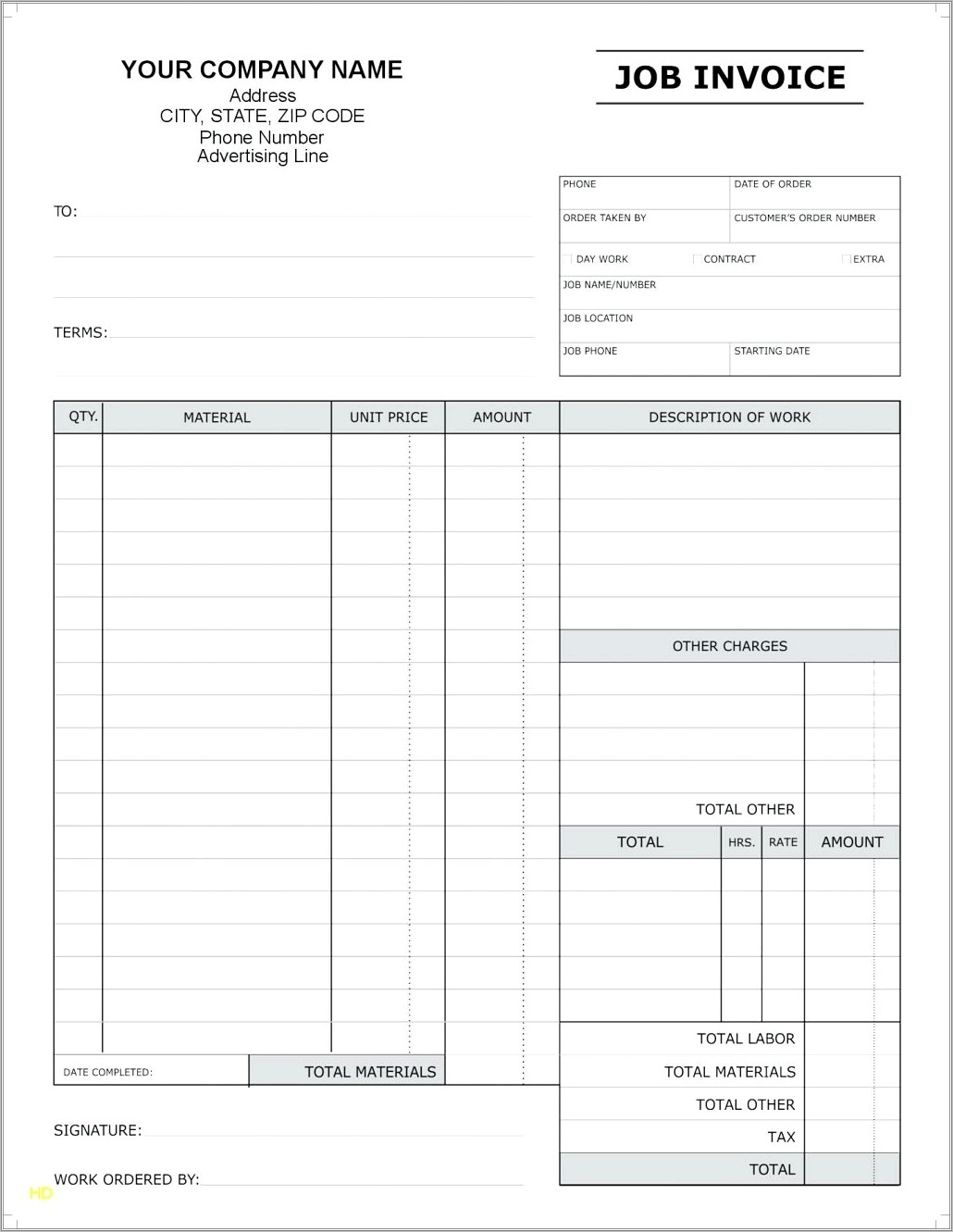 Invoice Template Word Doc Free Download
