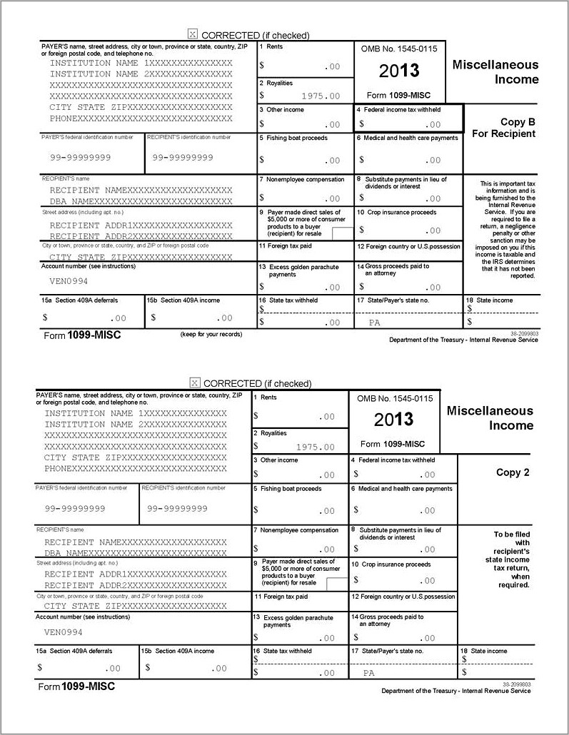 Irs Form 1099 Misc Template