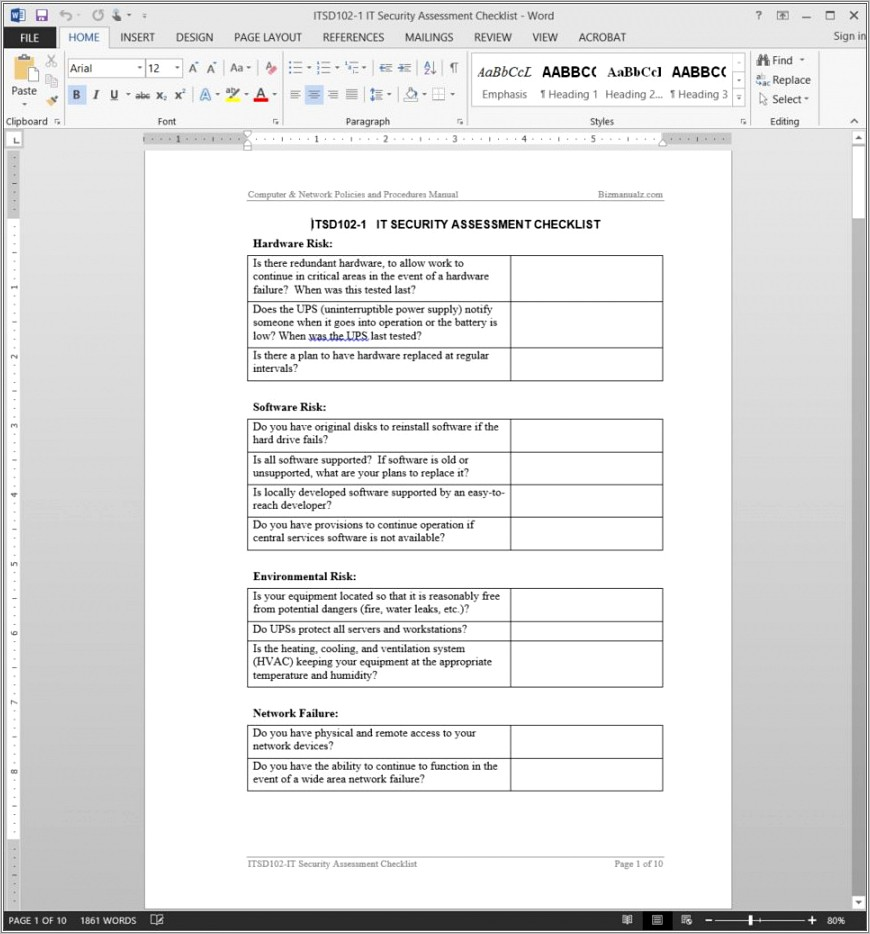 It Security Risk Assessment Template