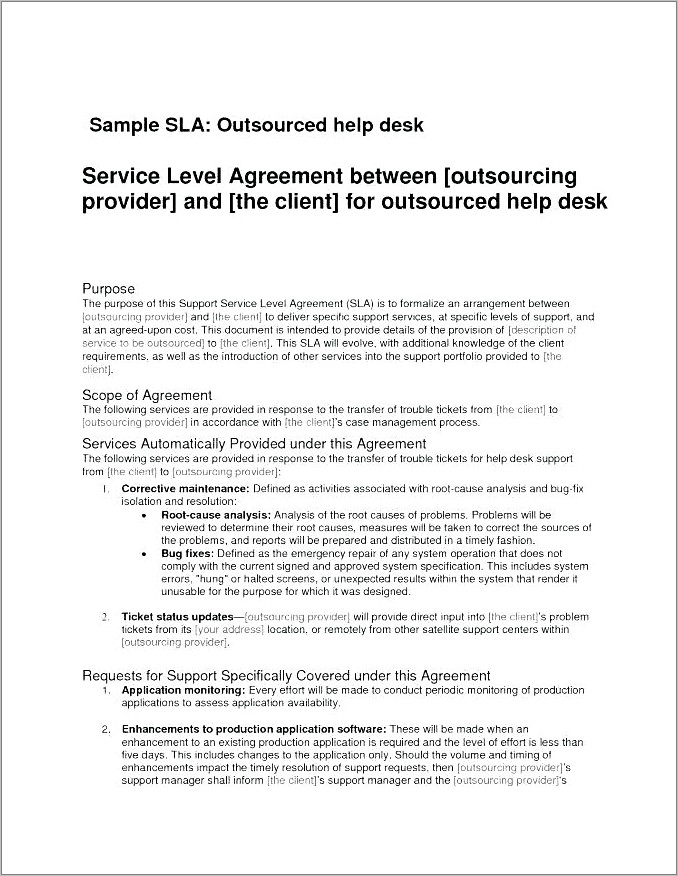 It Service Level Agreement Template Doc