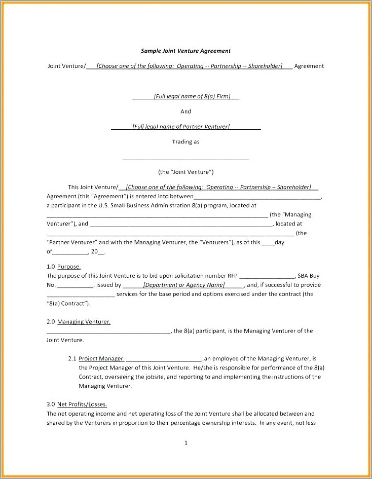Joint Venture Agreement Document Free