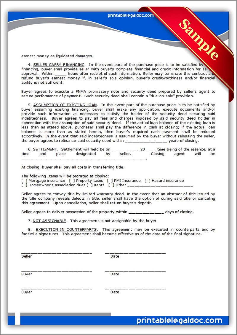 Land Sale Contract Form