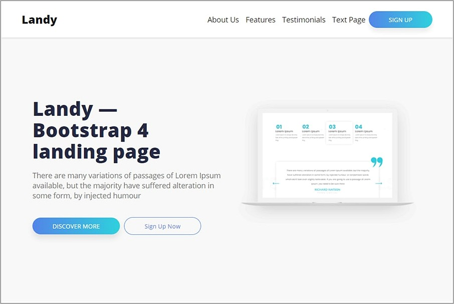 Landing Page Bootstrap Templates Free