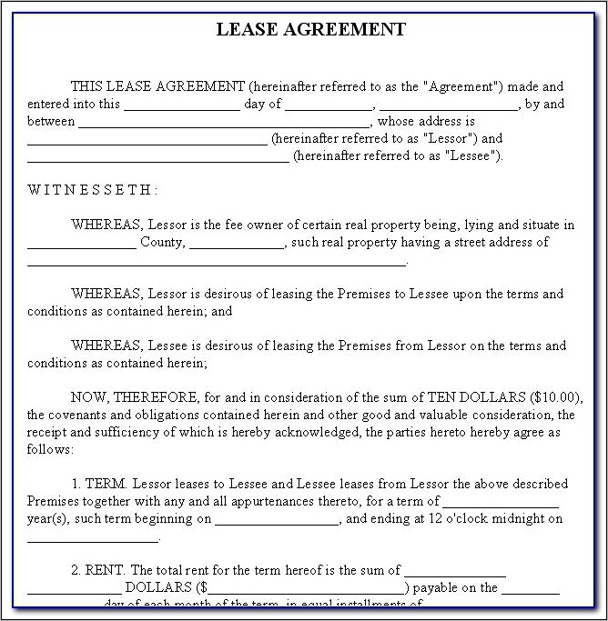 Landlord And Tenant Agreement Form Bc