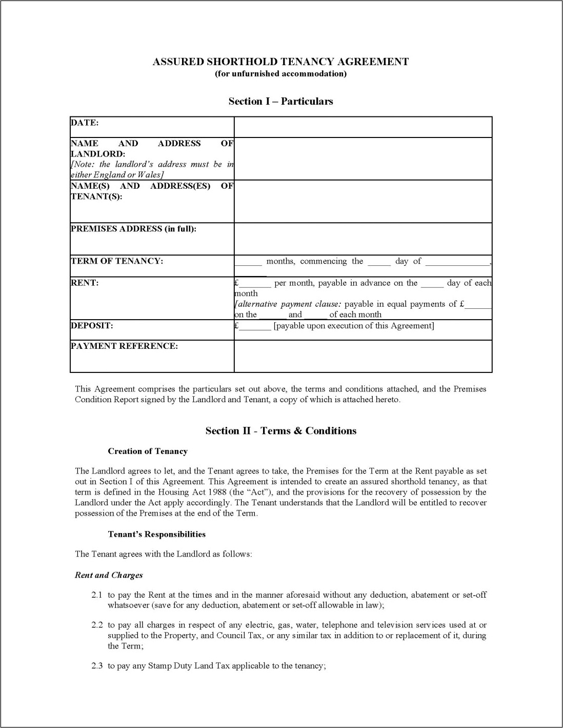 Landlord And Tenant Agreement Form Pdf
