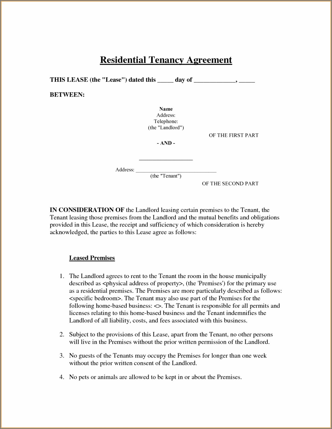 Landlord And Tenant Contract Sample