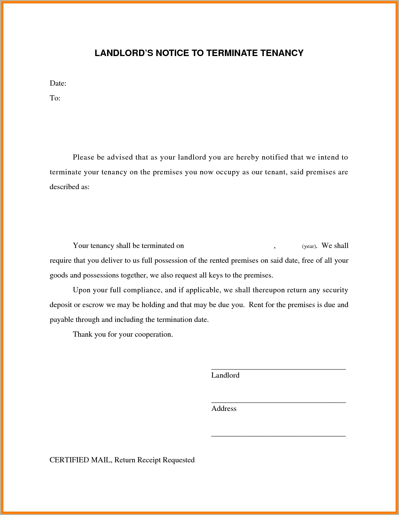 Landlord Lease Agreement Termination Letter