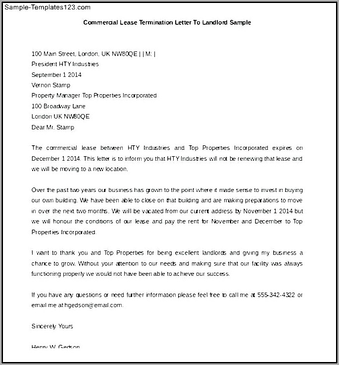 Landlord Notice To Quit Template Tenant Uk